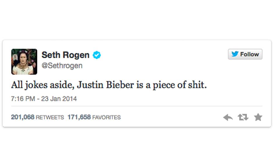 Keine Liebe für Bieber: Seth Rogen erklärt, warum er Justin Bieber hasst
