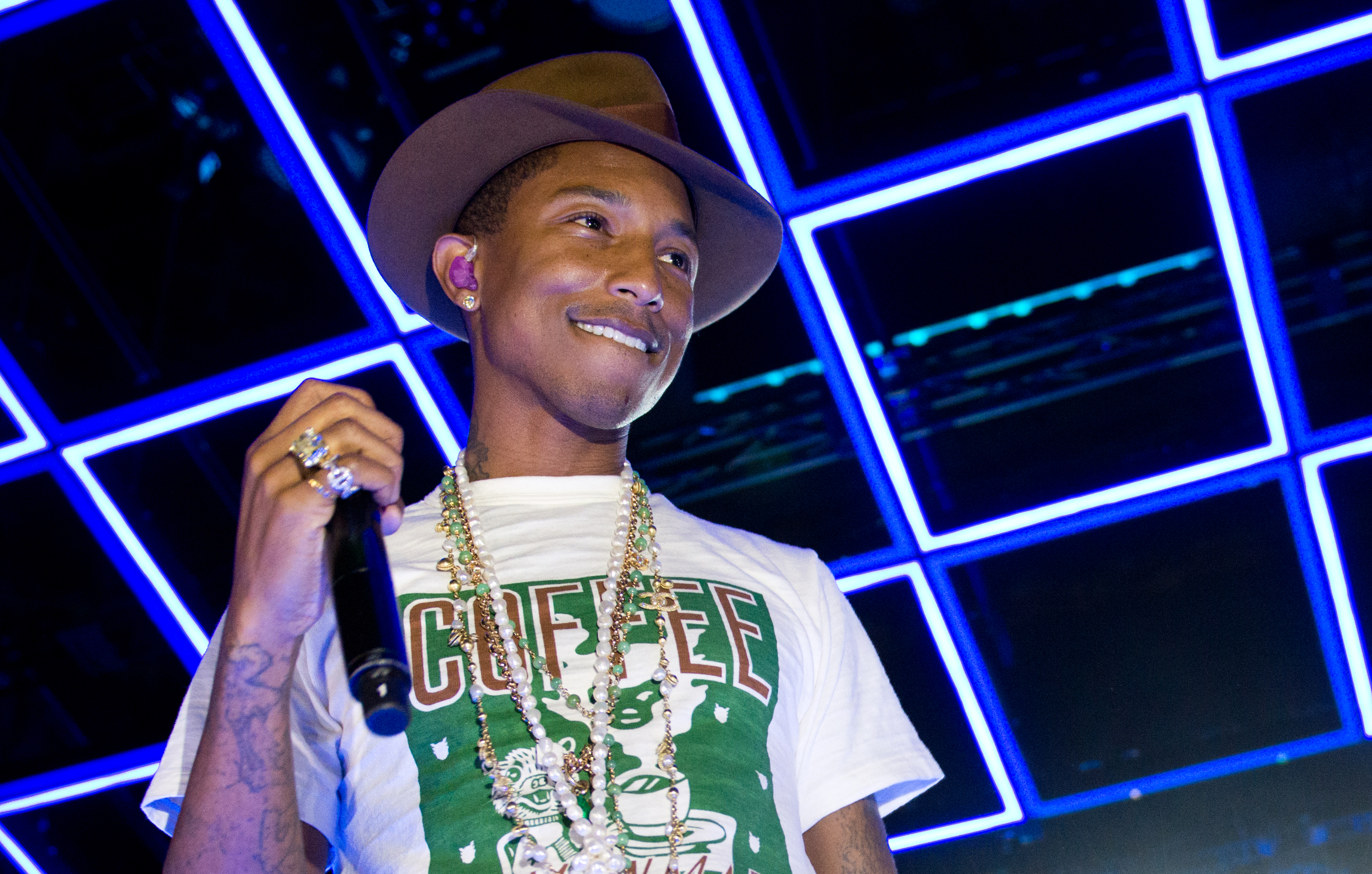 NEW YORK, NY - APRIL 29: Pharrell Williams performs at the Sprint Sound Sessions at Webster Hall on April 29, 2014 in New Yor
