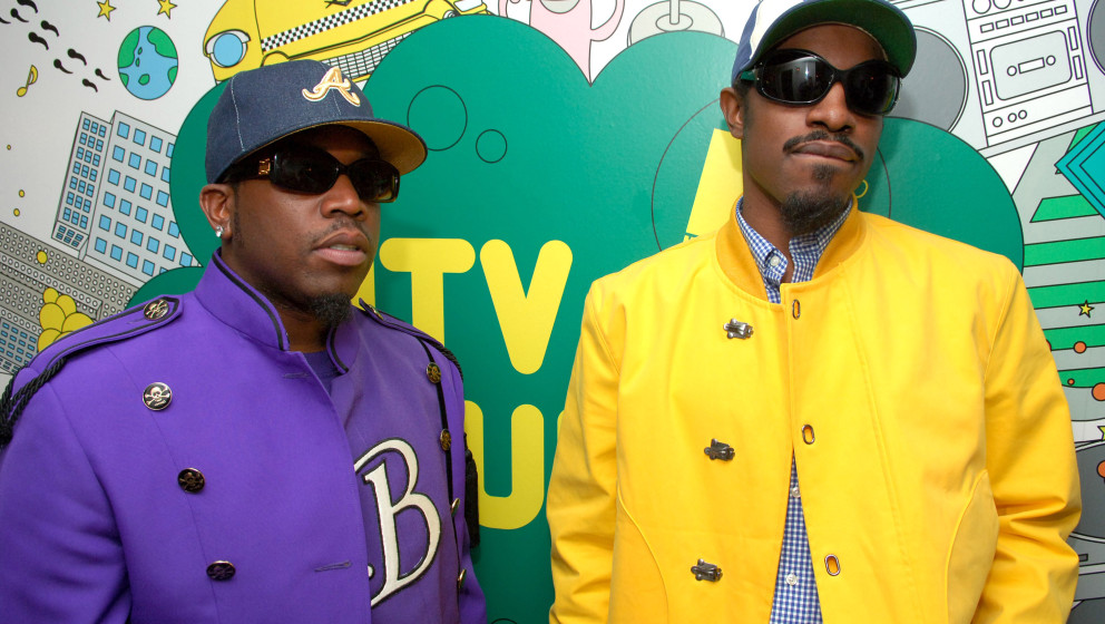 Big Boi and Andre 3000 of Outkast during Outkast Visits MTV's 'TRL' - August 22, 2006 at MTV Studios - Times Square in New Yo