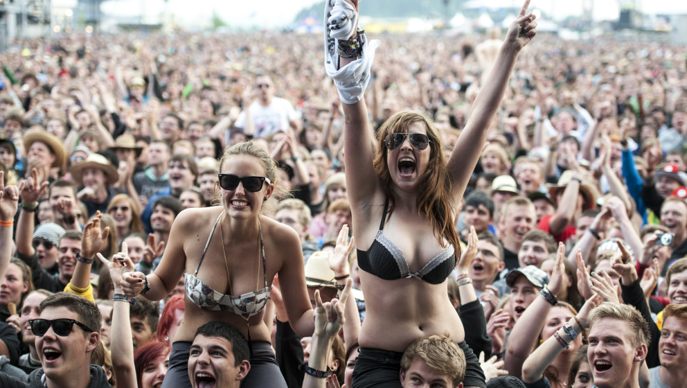 NUERBURG, GERMANY - JUNE 01: Spectators watch the performance of Gossip during the first day of Rock Am Ring on June 01, 2012