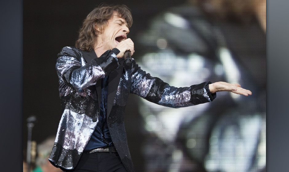BERLIN, GERMANY - JUNE 10:  Mick Jagger of the British band The Rolling Stones performs live during a concert at the Waldbueh