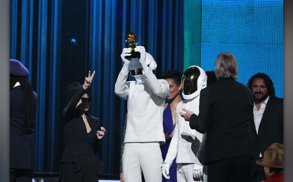 Image #: 26818636    Thomas Bangalter and Guy-Manuel De Homem-Christo of Daft Punk on stage during the 56th Annual Grammy Awa