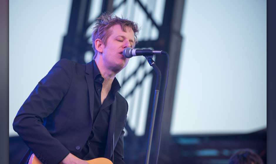 NEW YORK, NY - JUNE 07:  Britt Daniel of Spoon performs on stage during day 2 of the Governors Ball 2014 at Randall's Island