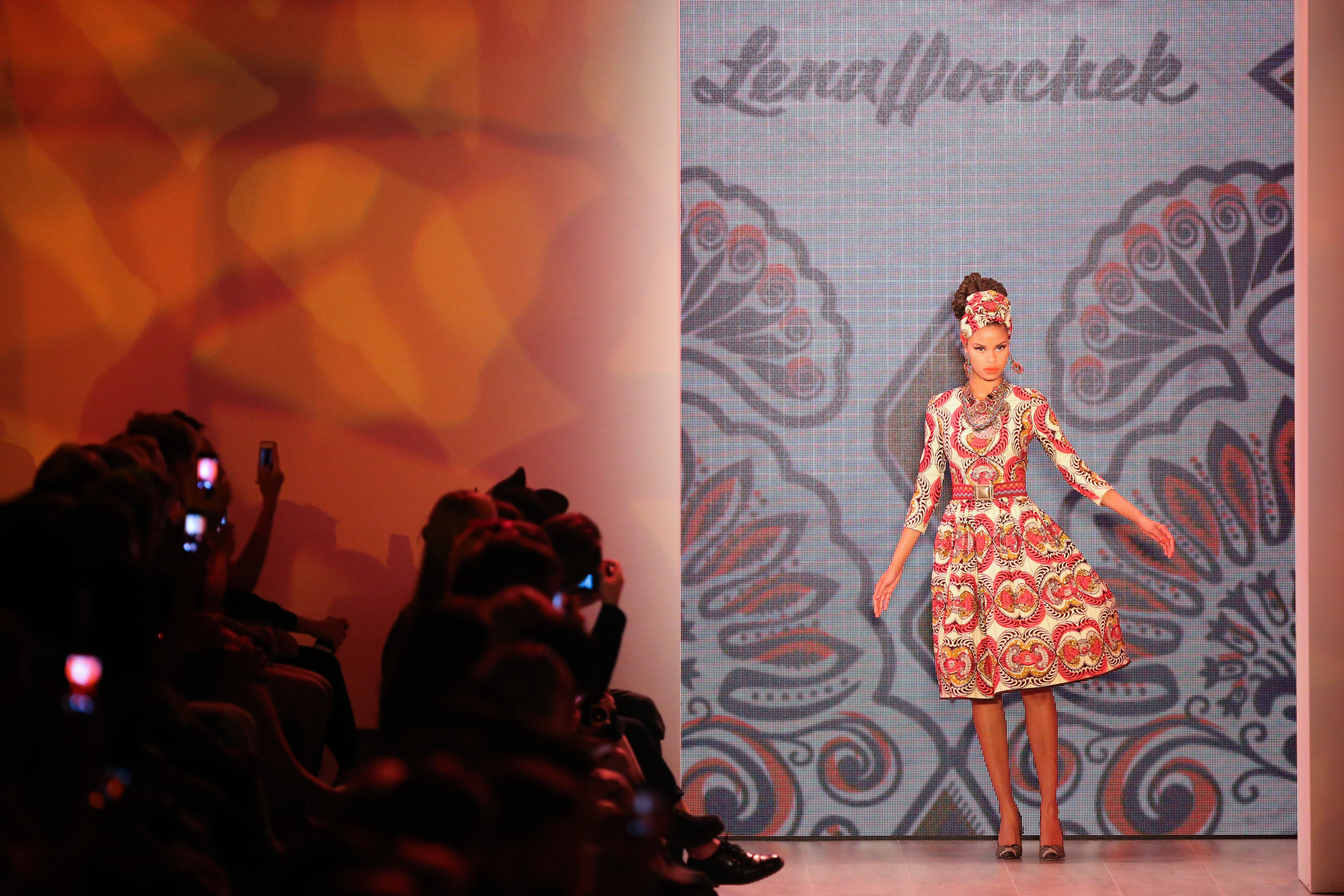 BERLIN, July 8, 2014 A model displays a creation by Austrian designer Lena Hoschek during the Mercedes-Benz Fashion Week Berl