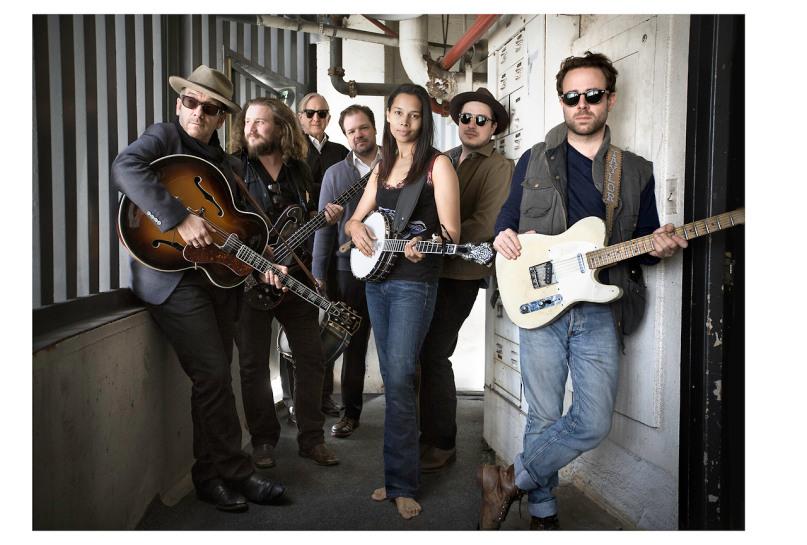 Pictured: Elvis Costello, Jim James,T Bone Burnett, Jay Bellerose, Rhiannon Giddens, Marcus Mumford, Taylor Goldsmith.Photo