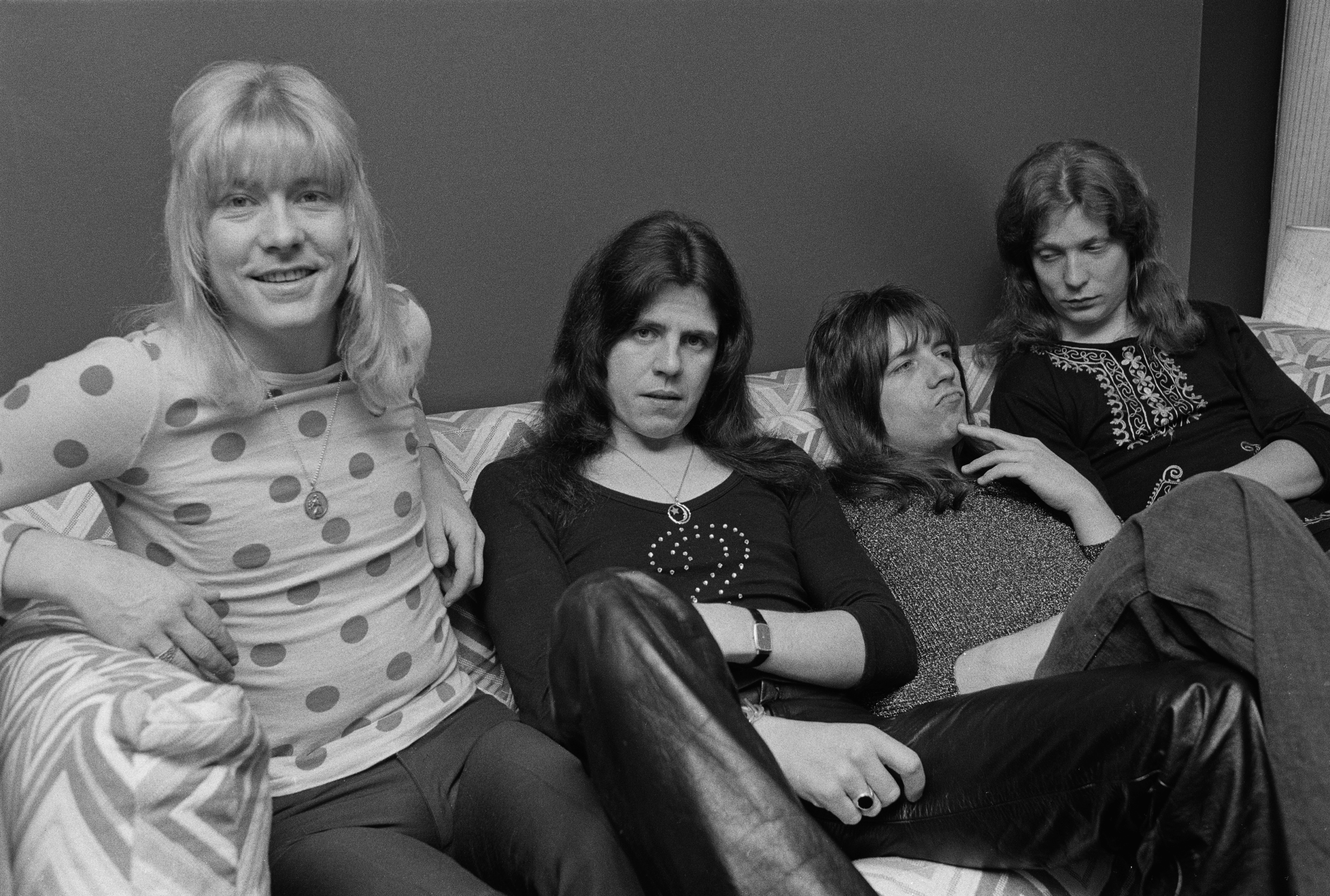 British glam rock group The Sweet, 16th January 1974. Left to right: Brian Connolly (1945 - 1997), Mick Tucker, Andy Scott an