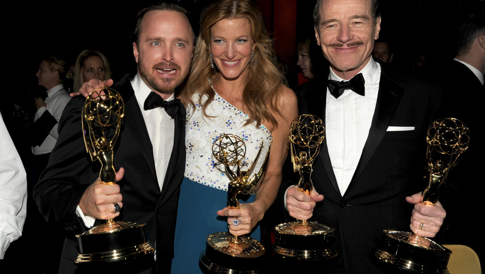 LOS ANGELES, CA - AUGUST 25:  (L-R) Actors Aaron Paul, winner of the award for Outstanding Supporting Actor in a Drama Series