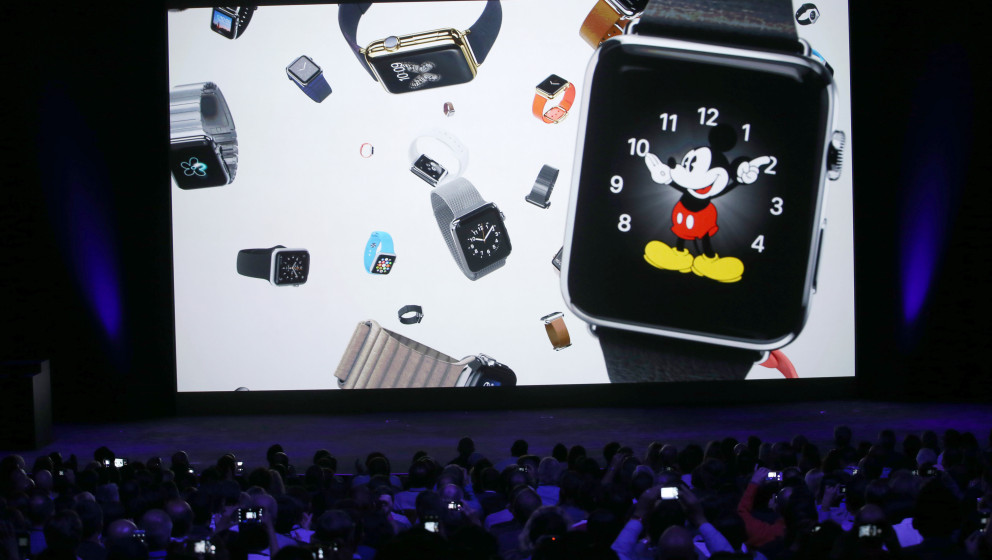 CUPERTINO, CA - SEPTEMBER 09:  A video about the Apple Watch is shown during an Apple special event at the Flint Center for t