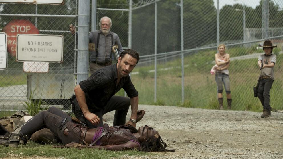 (Front) Rick Grimes (Andrew Lincoln) and Michonne (Danai Gurira) - (Back) Hershel Greene (Scott Wilson), Beth Greene (Emily K