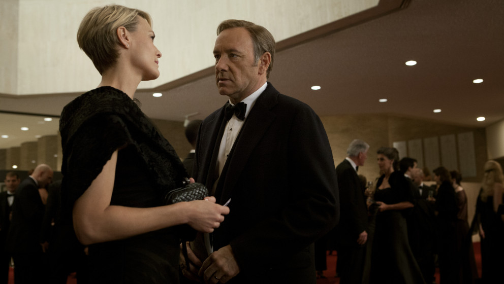 This image released by Netflix shows Robin Wright as Claire Underwood, left, and Kevin Spacey as U.S. Congressman Frank Under