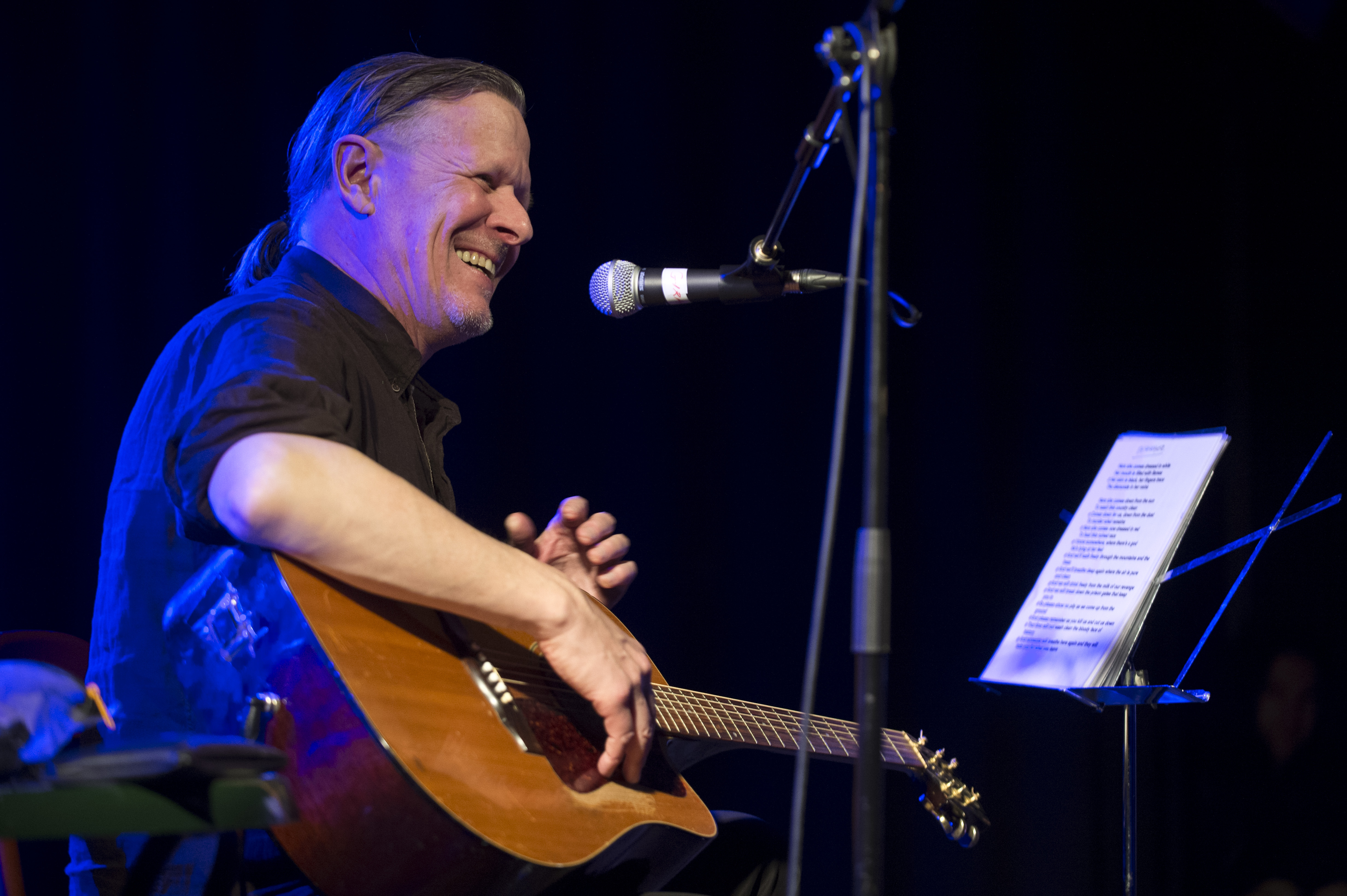 BARCELONA, SPAIN - MARCH 08: Michael Gira performs on stage at Sala Apolo on March 8, 2014 in Barcelona, Spain. (Photo by Jor