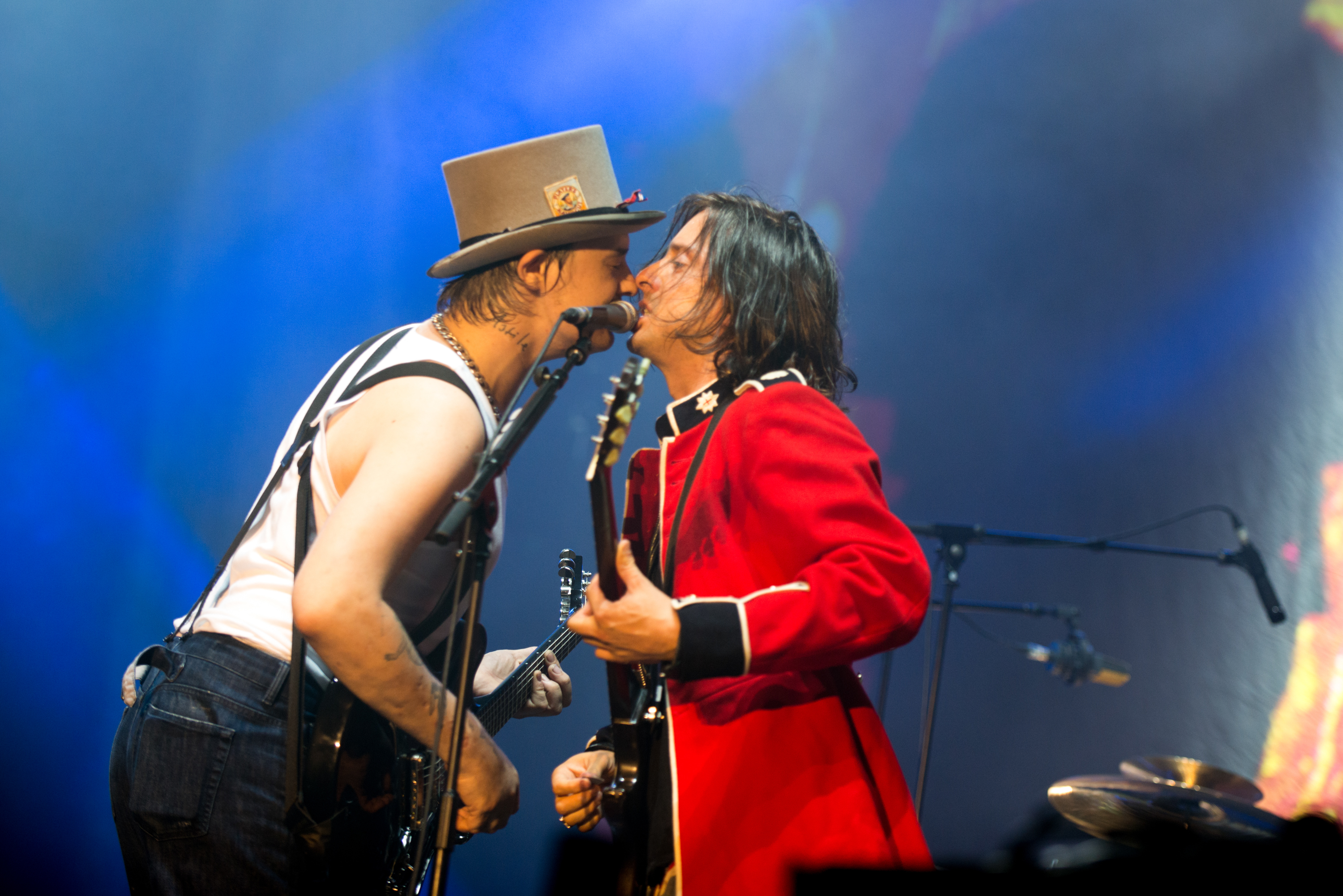 BENICASIM, SPAIN - JULY 19:  Peter Doherty and Carl Barat of The Libertines on Day 3 of Benicassim Music Festival on July 19,