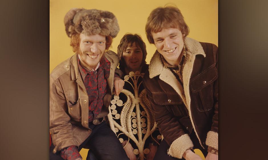 LONDON - 1st JANUARY: British rock group Cream posed at Fleet Studios in London in 1966. Left to right: drummer Ginger Baker,
