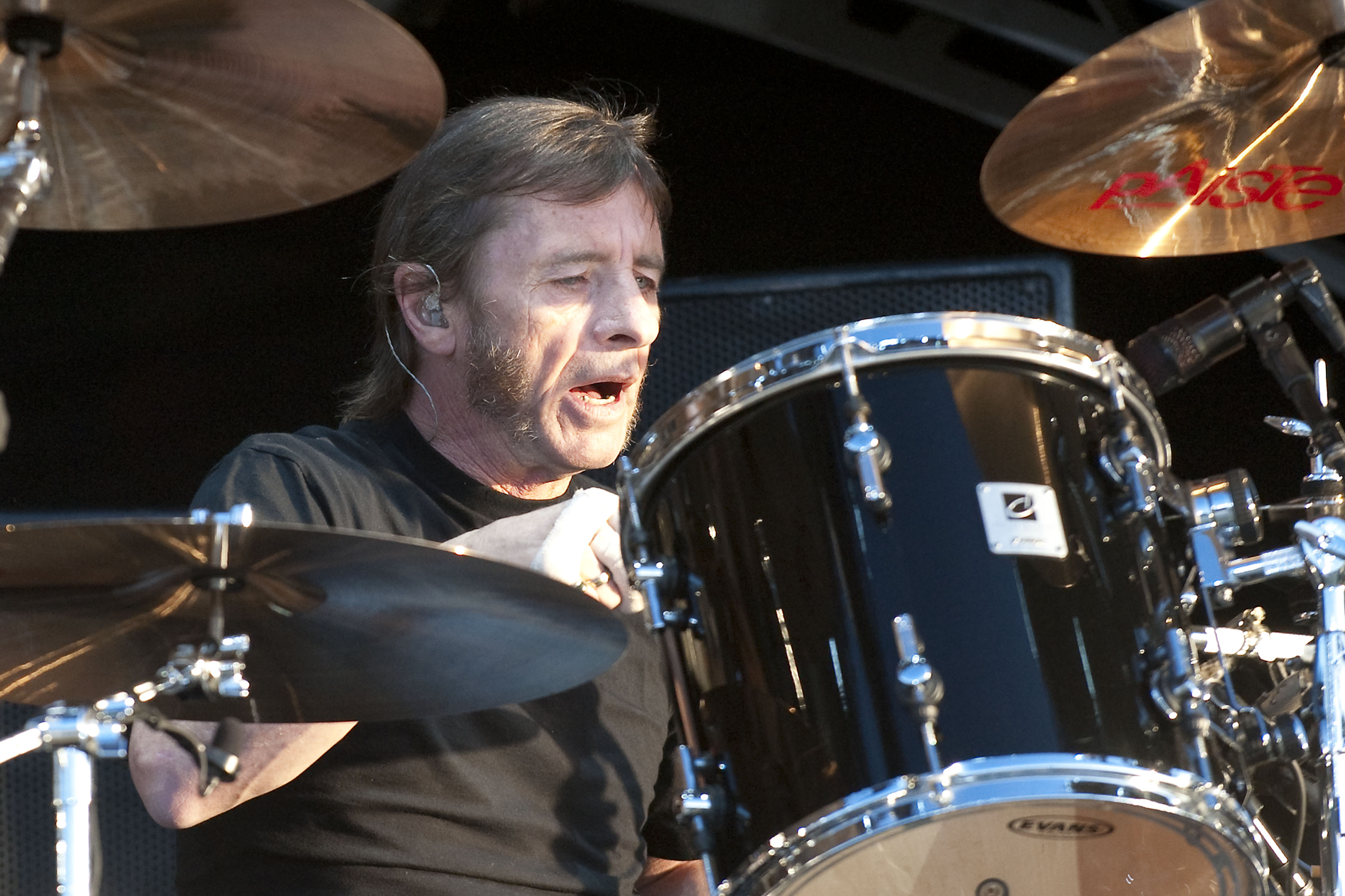 DERBY, UNITED KINGDOM - JUNE 11: Phil Rudd of AC/DC performs on stage on the first day of the Download Festival at Donington