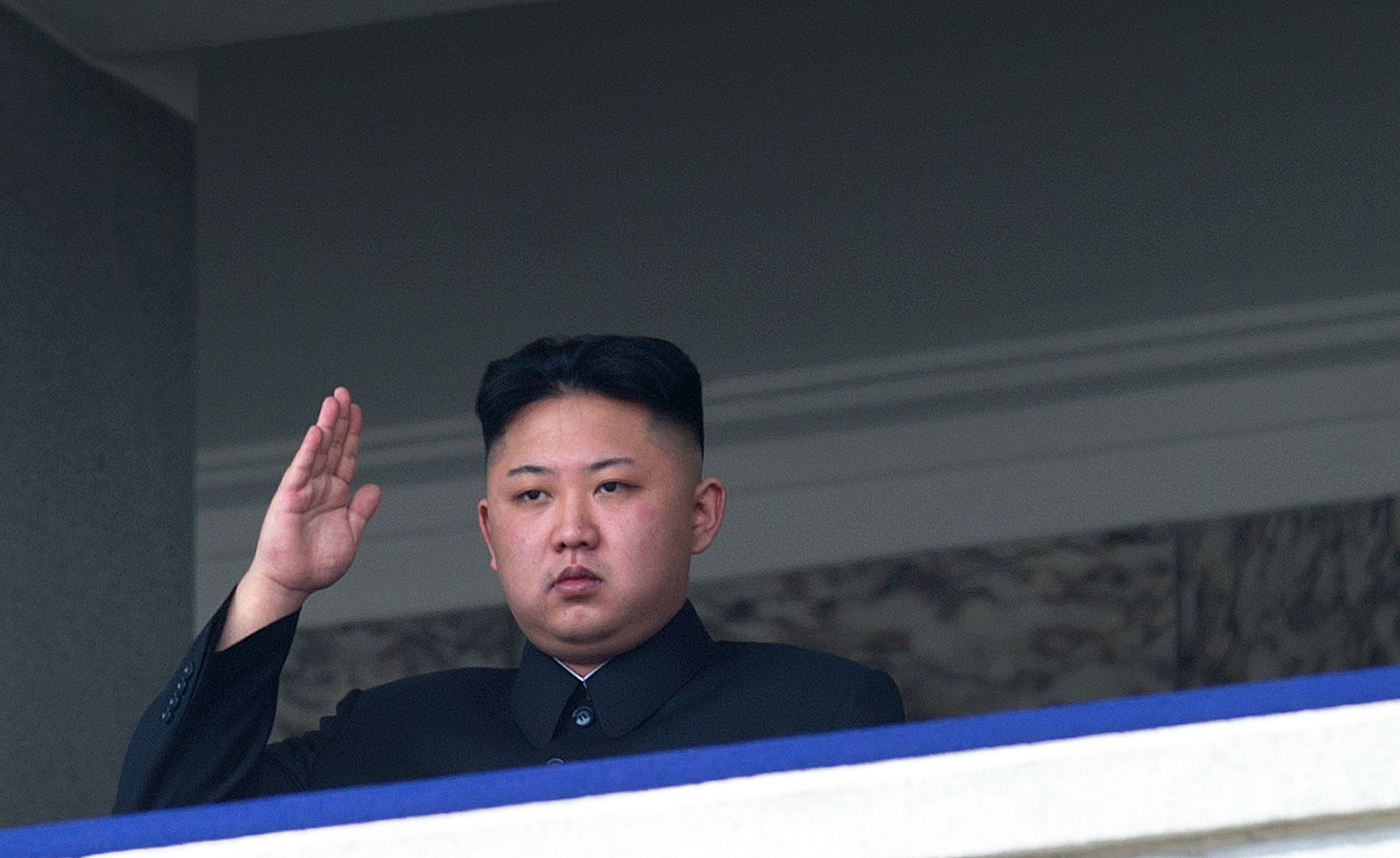 TO GO WITH Oly-2012-PRK,FEATURE (FILES) This file photo taken on April 15, 2012 shows North Korean leader Kim Jong-Un salutin