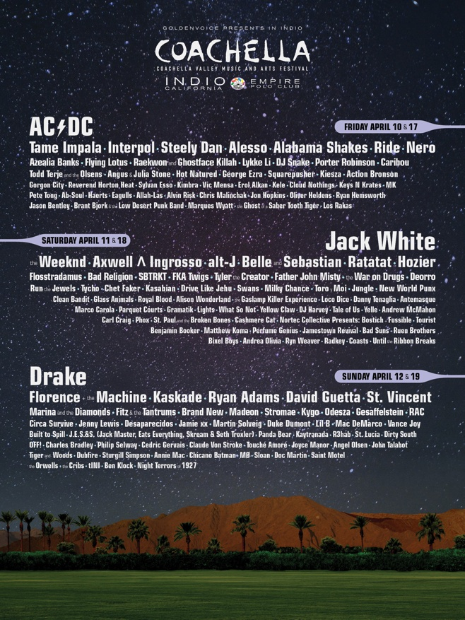 ac dc jack white drake coachella festival 2015 verk ndet line up. Black Bedroom Furniture Sets. Home Design Ideas