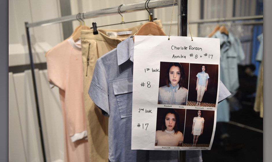 BERLIN, GERMANY - JANUARY 19:  A sheet showing the name of a model named Annika is seen backstage ahead of the Charlotte Rons