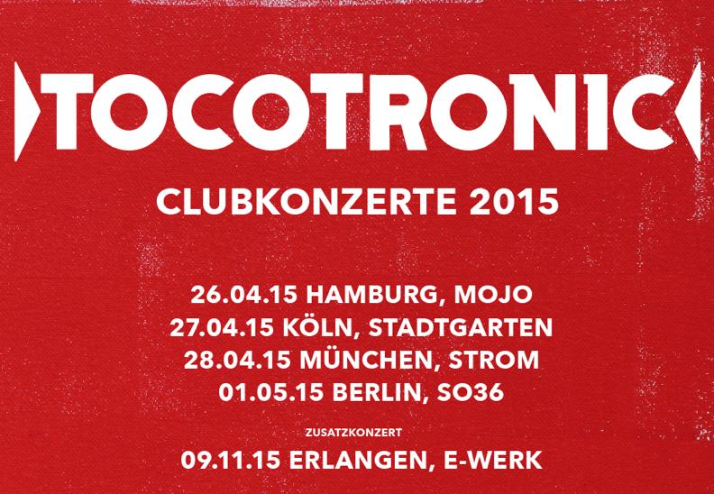Tocotronic: Ticket-Vorverkauf für Clubtour 2015 beginnt