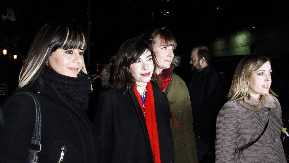 NEW YORK, NY - JANUARY 15: Janet Weiss, Carrie Brownstein and Corin Tucker of Sleater-Kinney leave the 'Late Show with David