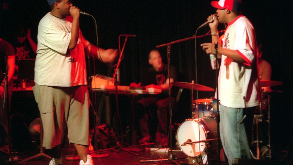 Cannibal OX and Isotope 217 performing at Symphony Space on Thursday night, May 16, 2002.This image:Vast Aire Kramer, left, a
