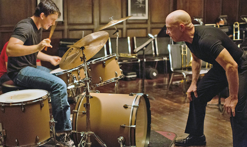Left to right: Miles Teller as Andrew and J.K. Simmons as Fletcher