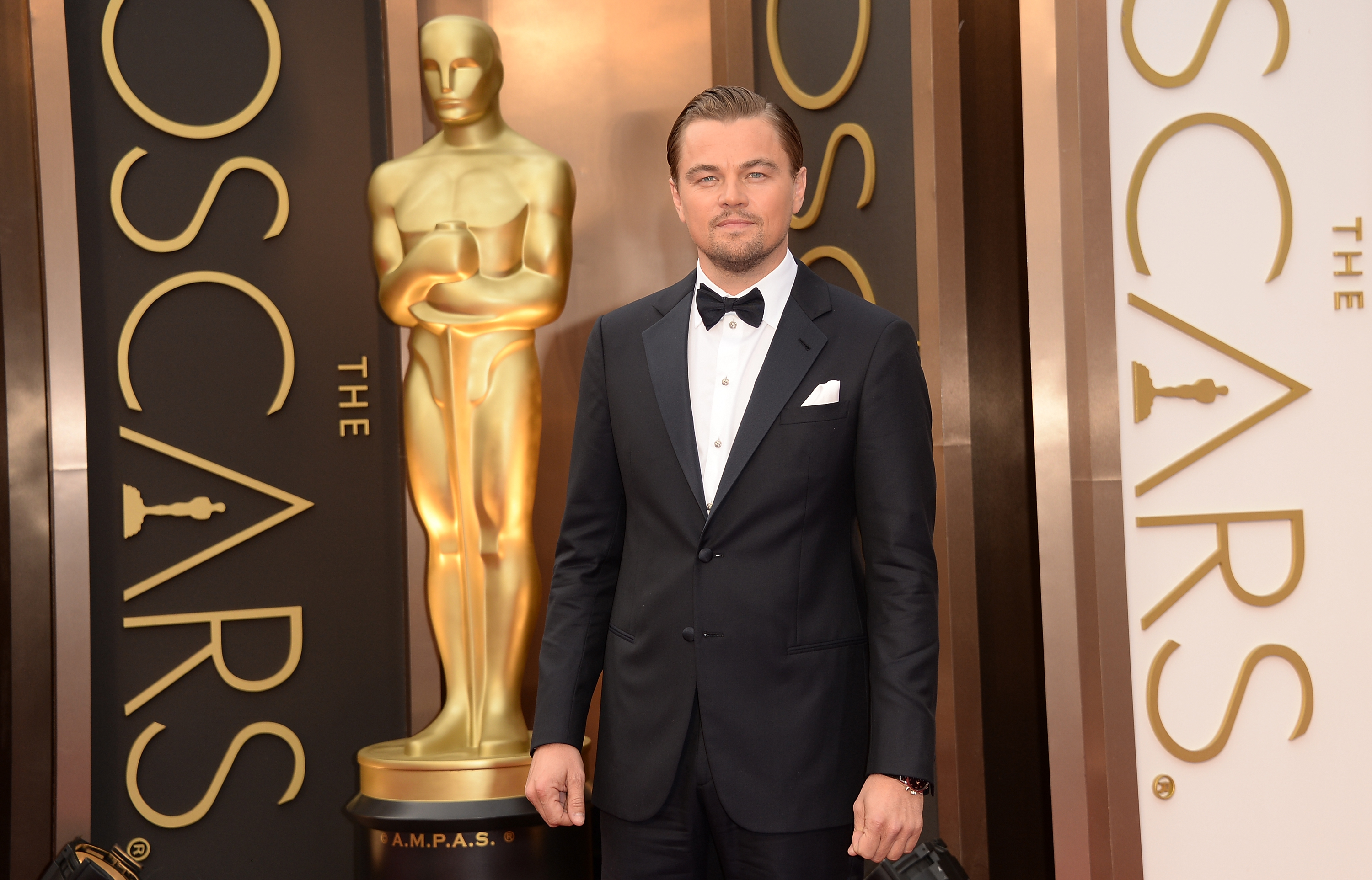 HOLLYWOOD, CA - MARCH 02:  Actor Leonardo DiCaprio attends the Oscars held at Hollywood & Highland Center on March 2, 201