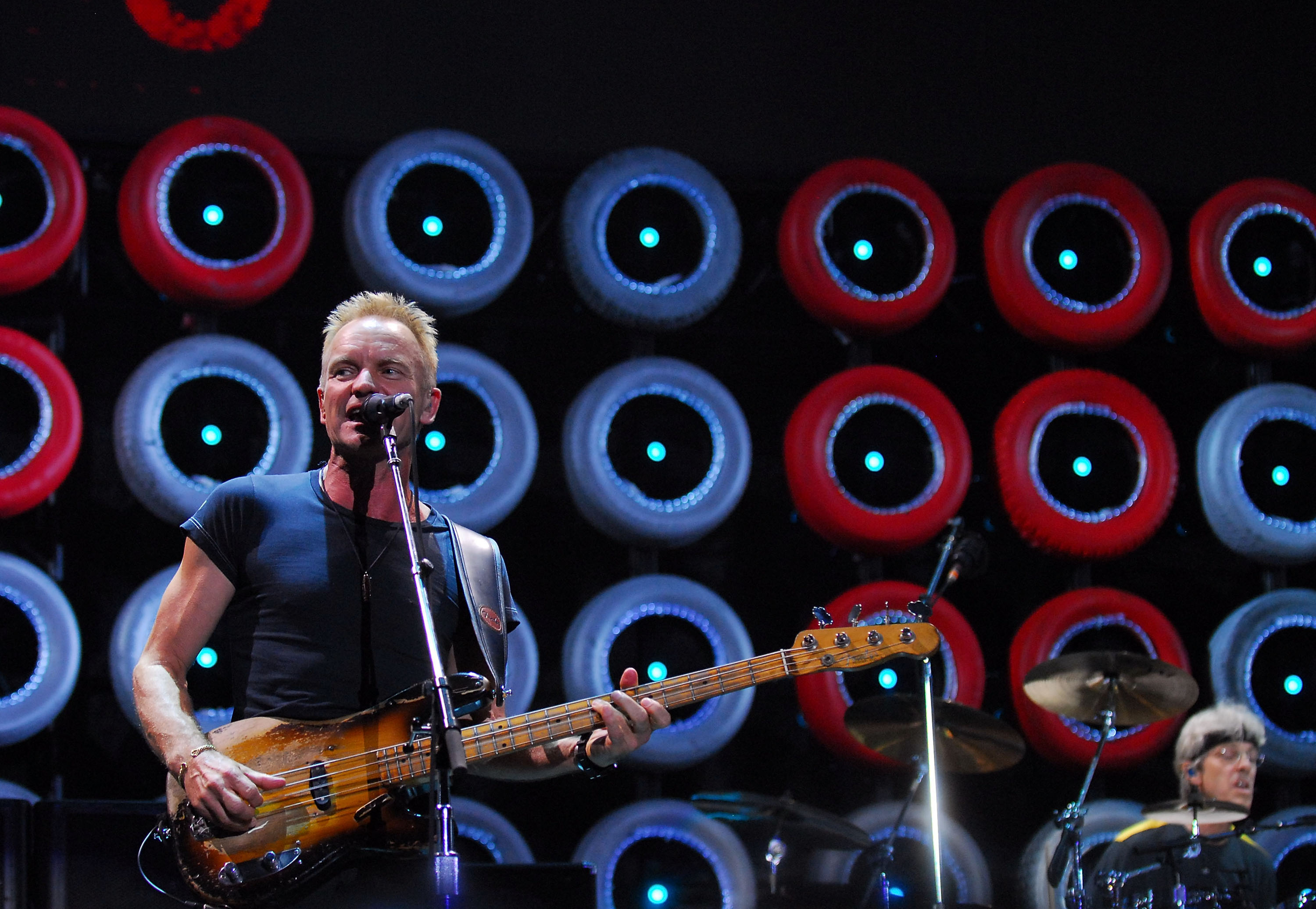 Singer/Bassist Sting and Drummer Stewart Copeland of The Police perform onstage at Live Earth New York held at Giants Stadium