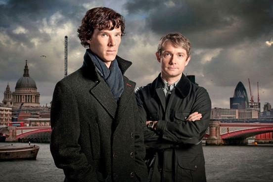 """Die Gewinner des Audience Awards bei den diesjährigen BAFTAs - """"Sherlock"""" mit Benedict Cumberbatch (li.) und Martin Free"""