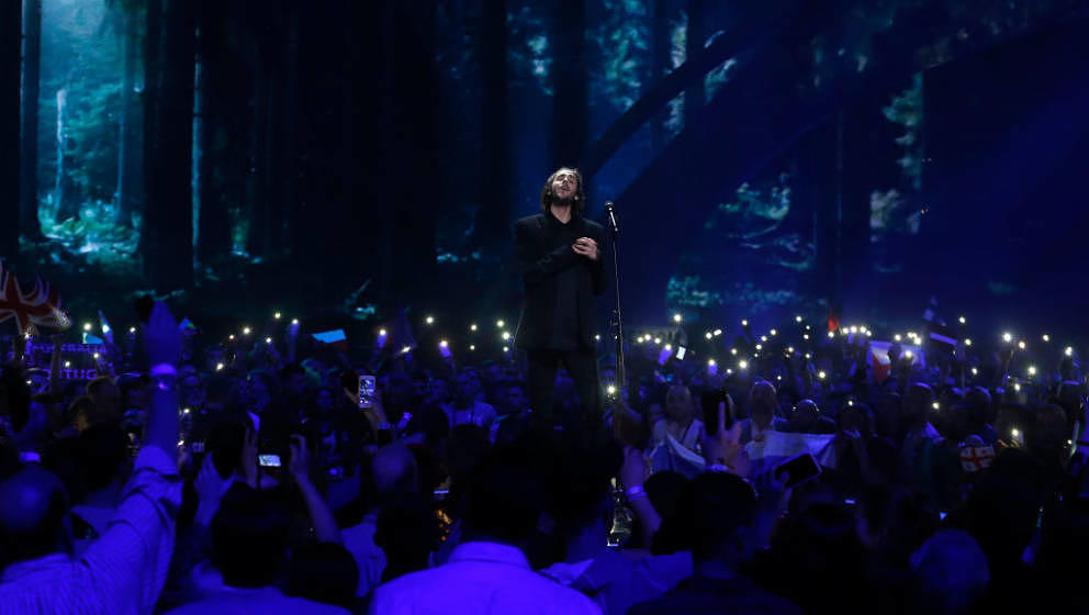 during the first semi final of the 62nd Eurovision Song Contest at International Exhibition Centre (IEC) on May 9, 2017 in Ki
