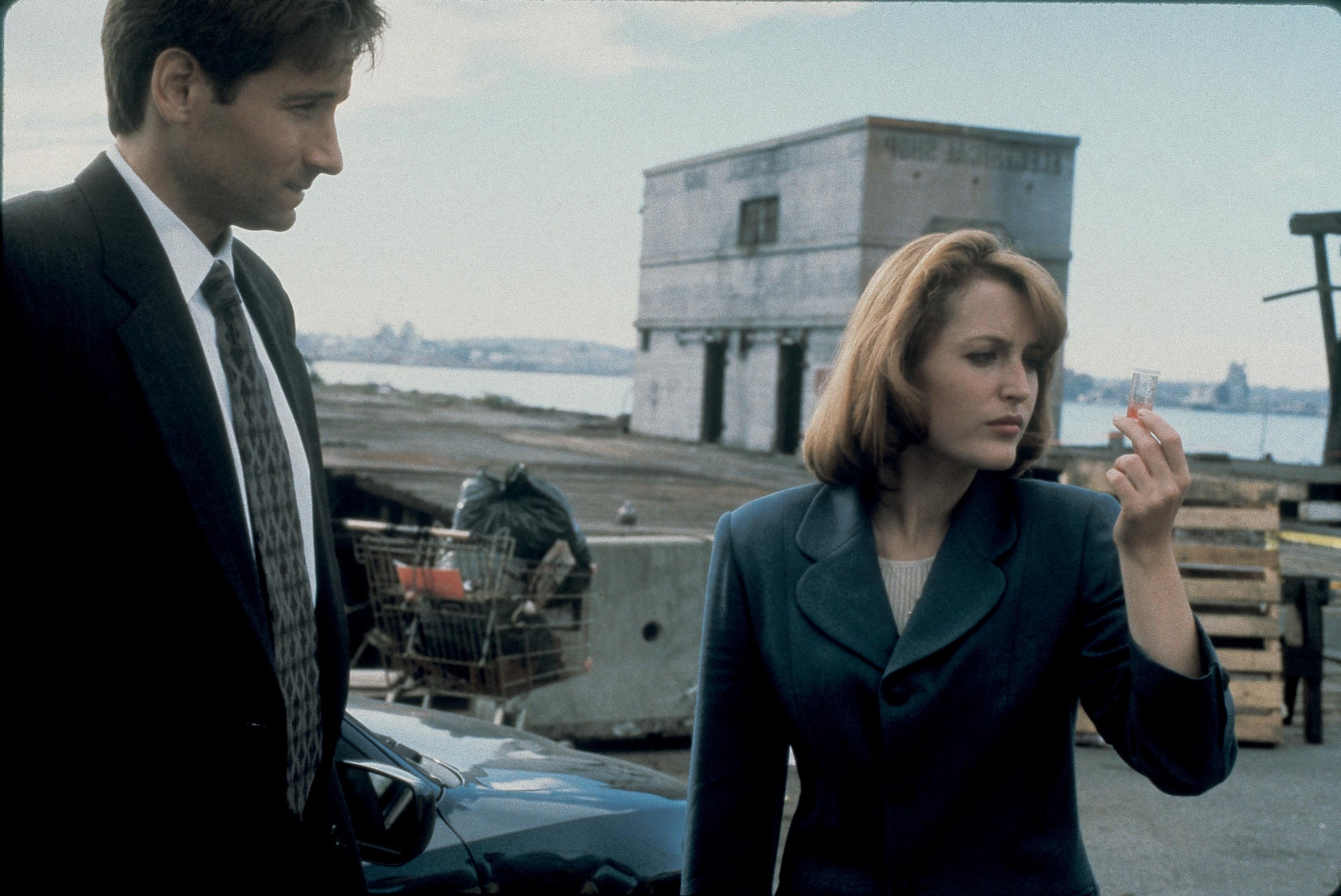THE X-FILES: Agents Mulder (David Duchovny, L) and Scully (Gillian Anderson, R) hunt for a killer who uses the internet to at