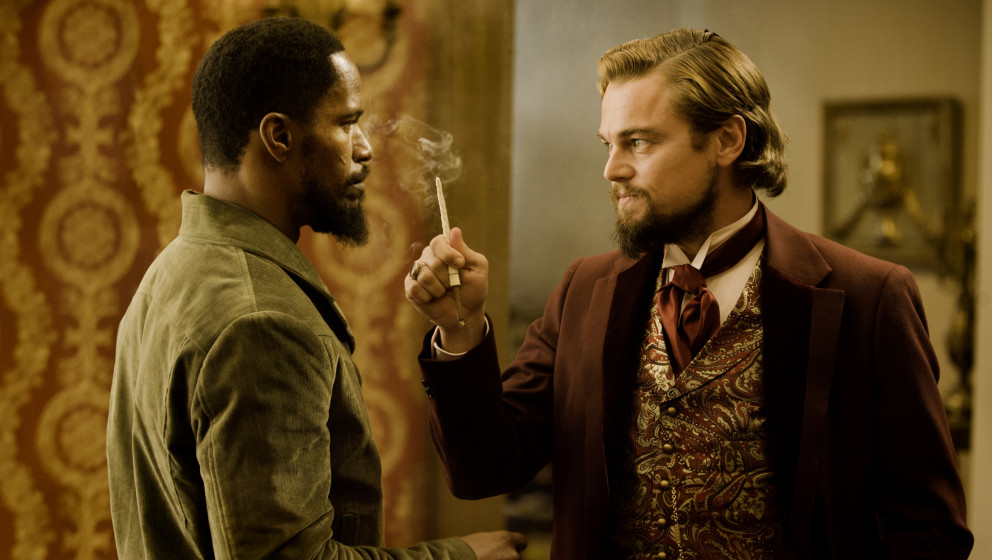 (L-R) JAMIE FOXX and LEONARDO DiCAPRIO star in DJANGO UNCHAINED