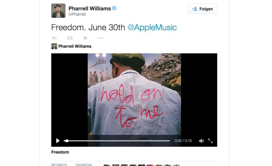 Vom 30. Juni an nur bei Apple Music - die neue Single von Pharrell Williams