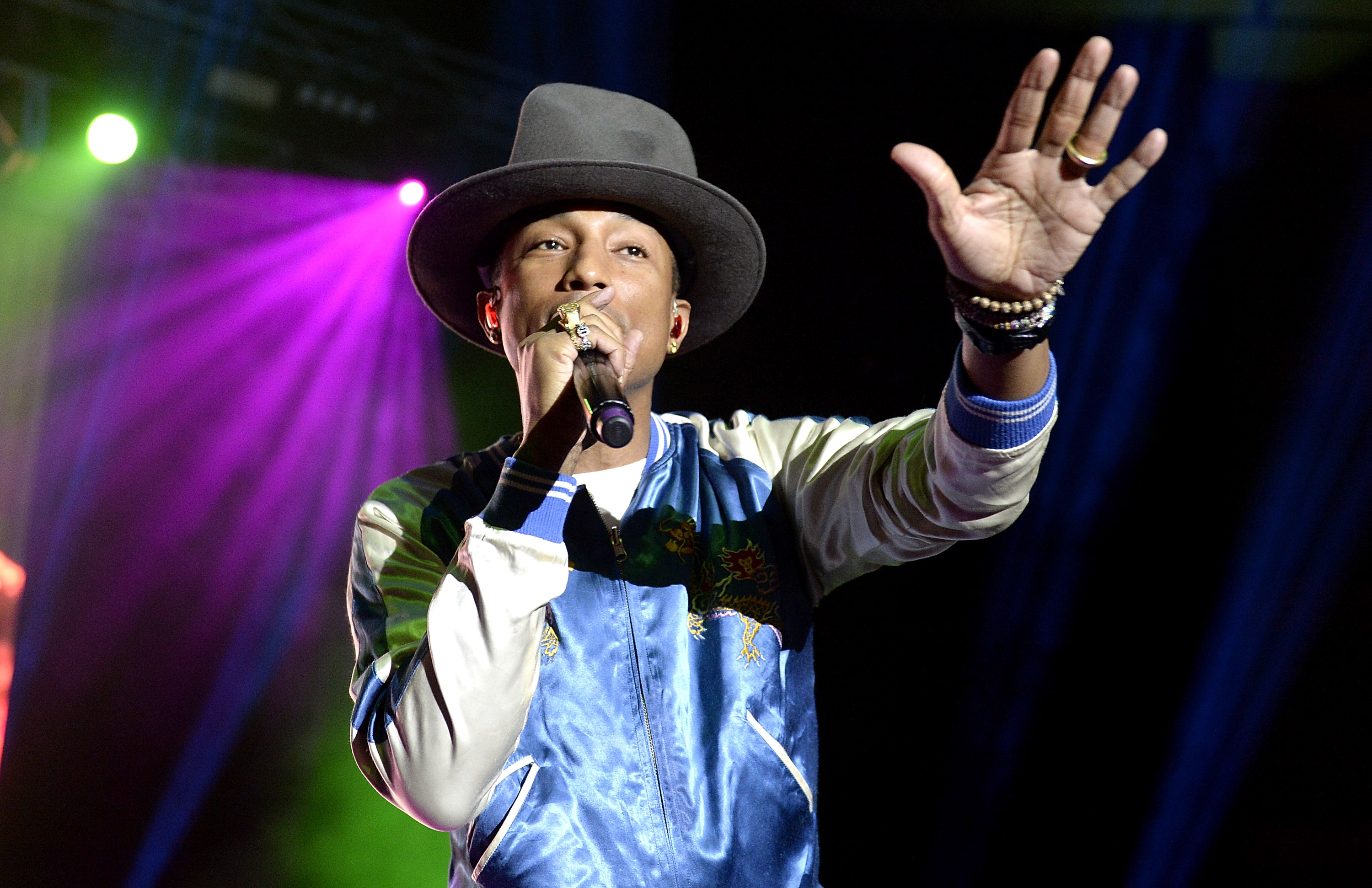 Pharrell performs live at The Riverstage on March 12, 2014 in Brisbane, Australia.
