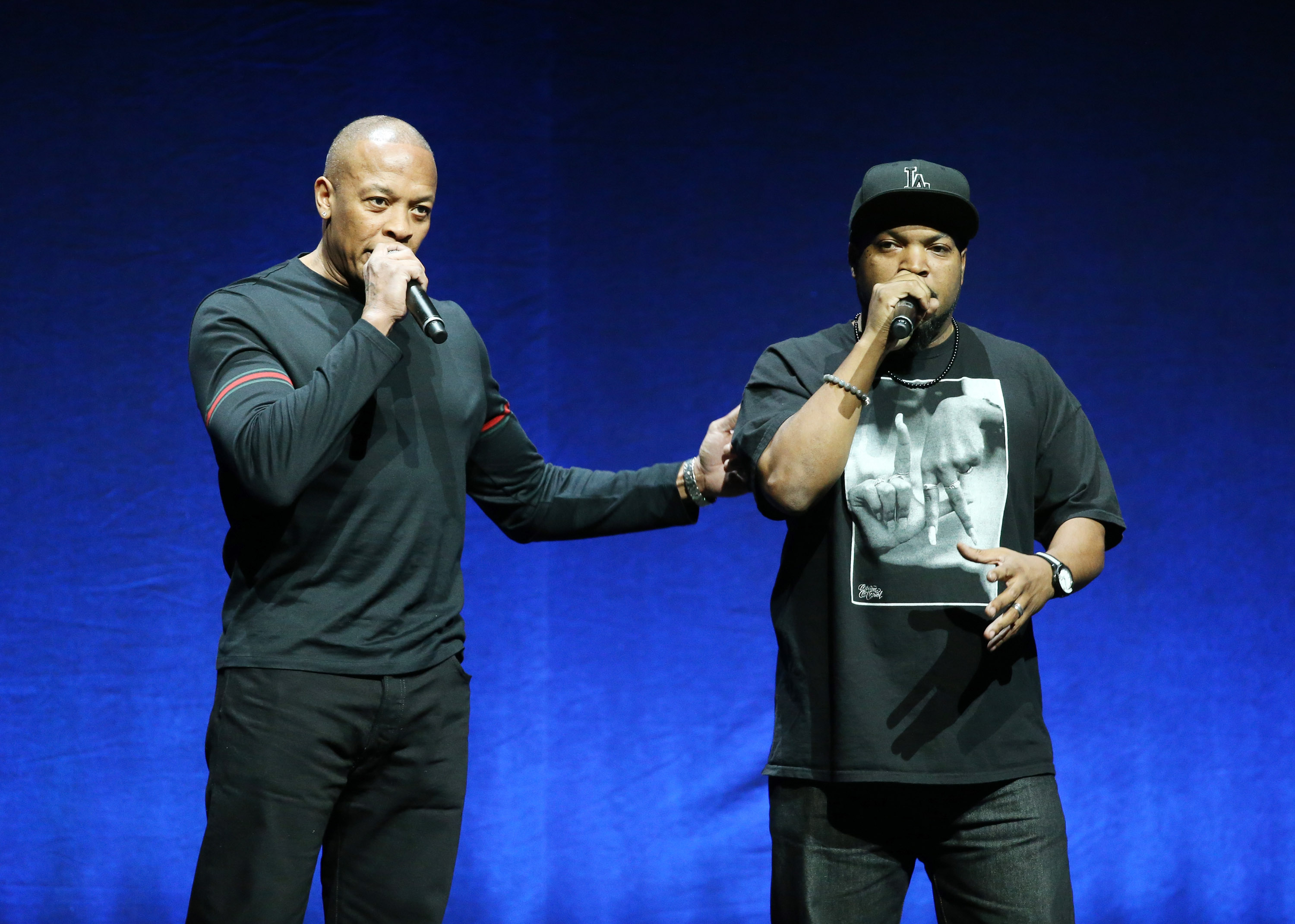 LAS VEGAS, NV - APRIL 23:  Dr. Dre and Ice Cube onstage at the 2015 CinemaCon - Universal Pictures Special Presentation Summe