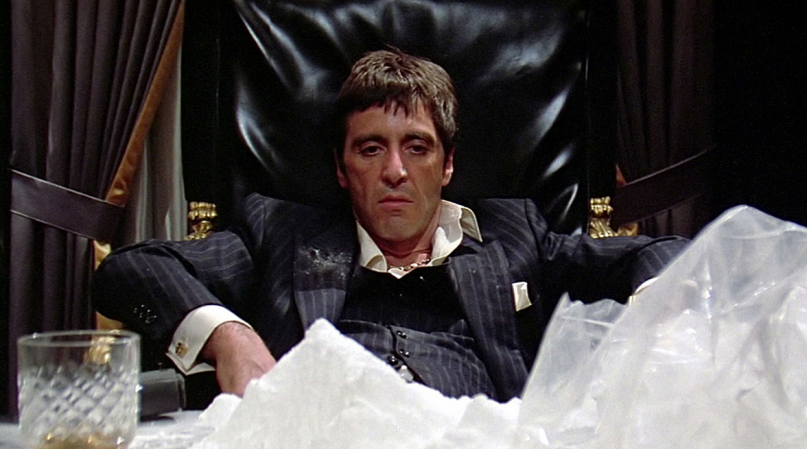 """Al Pacino in einer seiner Paraderollen: Tony Montana, der Drogenkönig aus """"Scarface""""."""