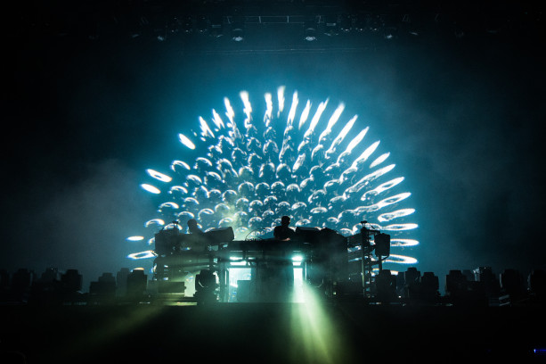 PARIS, FRANCE - AUGUST 30: Tom Rowlands ( R ) from The Chemical Brothers performs at Domaine National de Saint-Cloud on August 30, 2015 in Paris, France. (Photo by David Wolff - Patrick/Redferns)