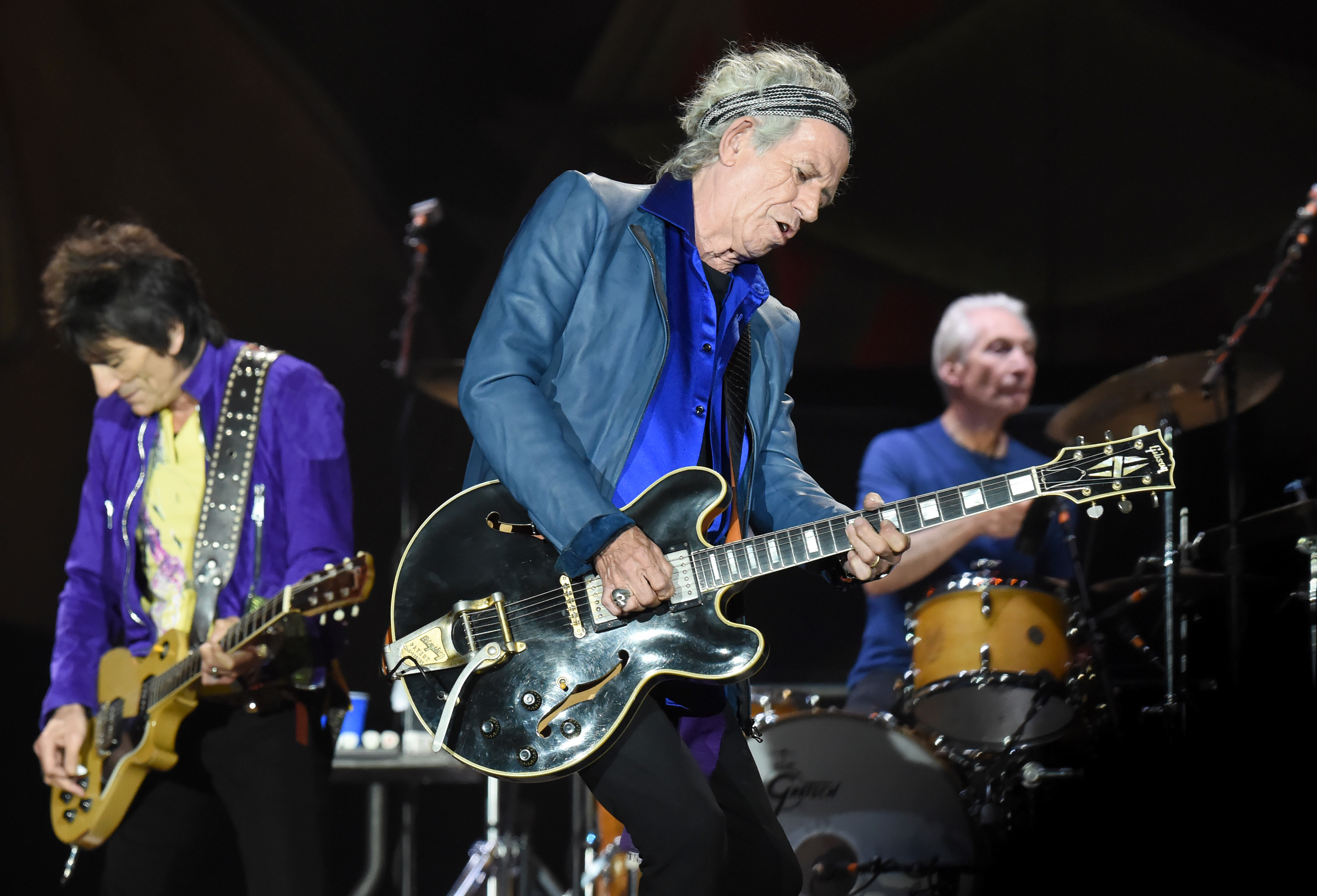 SAN DIEGO, CA - MAY 24:  (L-R) Musicians Ronnie Wood, Keith Richards and Charlie Watts of The Rolling Stones perform onstage