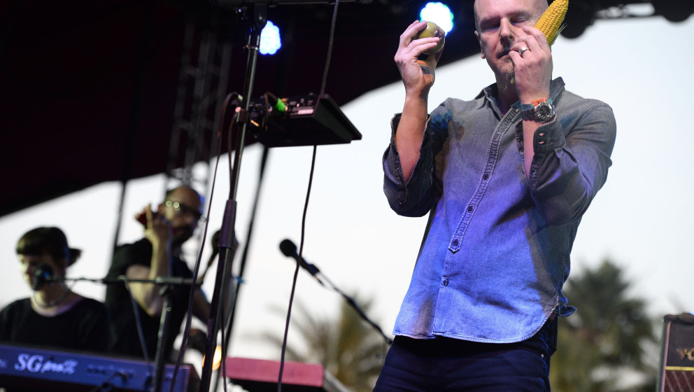 INDIO, CA - APRIL 19:  Singer/drummer Phil Selway of Radiohead performs onstage during day 2 of the Coachella Music Festival