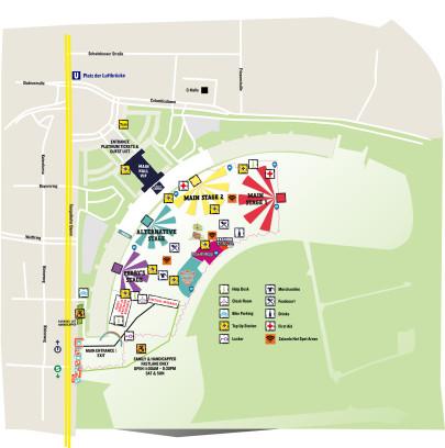 Der Lageplan für das Lollaplooza Festival 2015 in Berlin