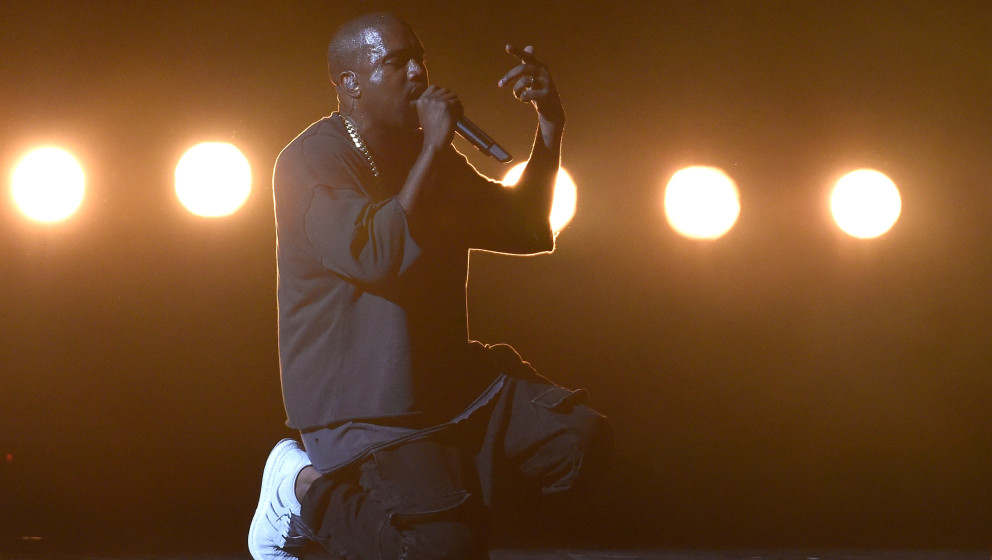 LAS VEGAS, NV - SEPTEMBER 18:  Rapper Kanye West performs at the 2015 iHeartRadio Music Festival at MGM Grand Garden Arena on