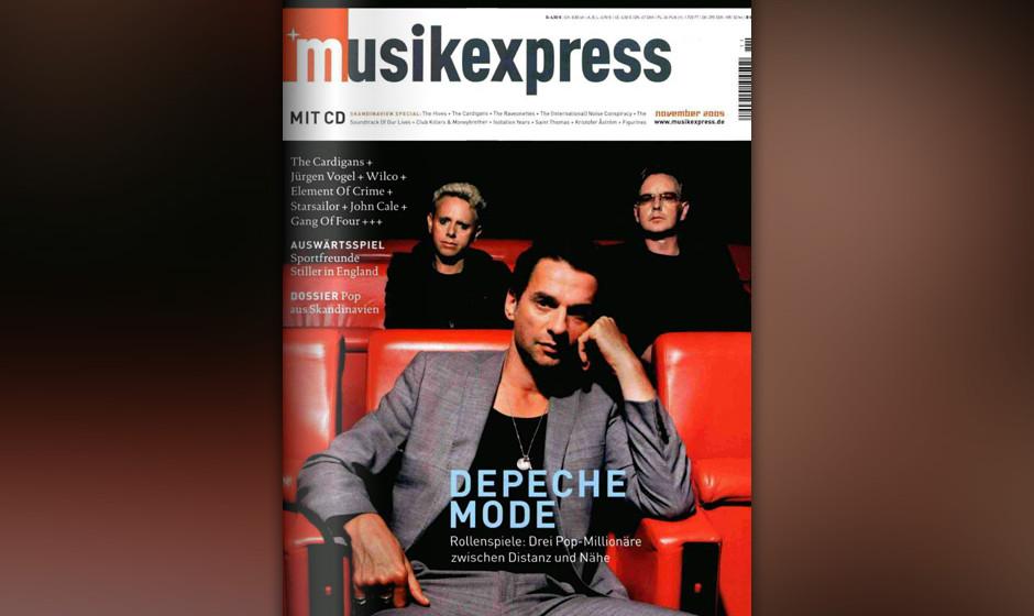 Auf der Therapiecouch: Depeche Mode auf dem Musikexpress-Cover im November 2005, zur Veröffentlichung von PLAYING THE ANGEL