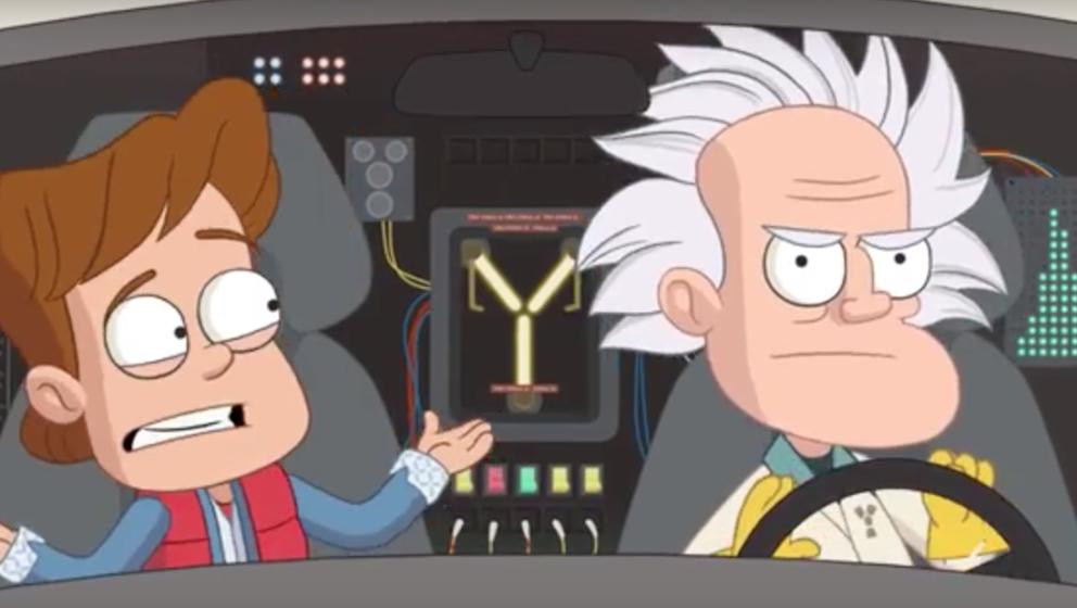 Marty McFly und Doc sind im Comic-Clip sichtlich erschrocken über die reellen Gegebenheiten im Jahr 2015.