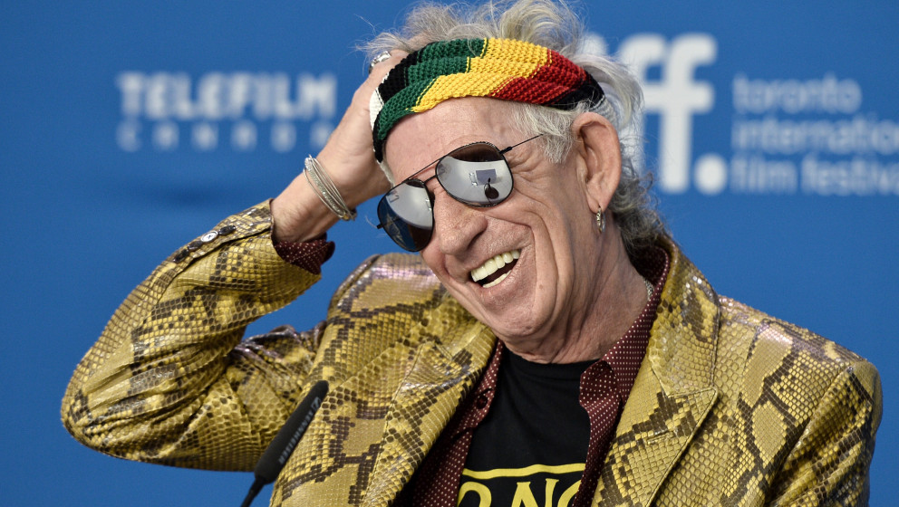speaks onstage during the 'Keith Richards: Under The Influence' press conference at the 2015 Toronto International Film Festi