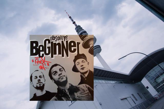 Das Cover des Albums ROCK ON der Beginner entstand an den Hamburger Messehallen. Deutlich zu erkennen: der Hamburger Fernseht