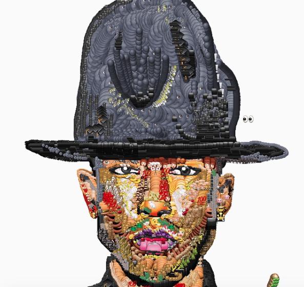Sänger Pharrell Wiliams - gebastelt aus diversen Emojis.
