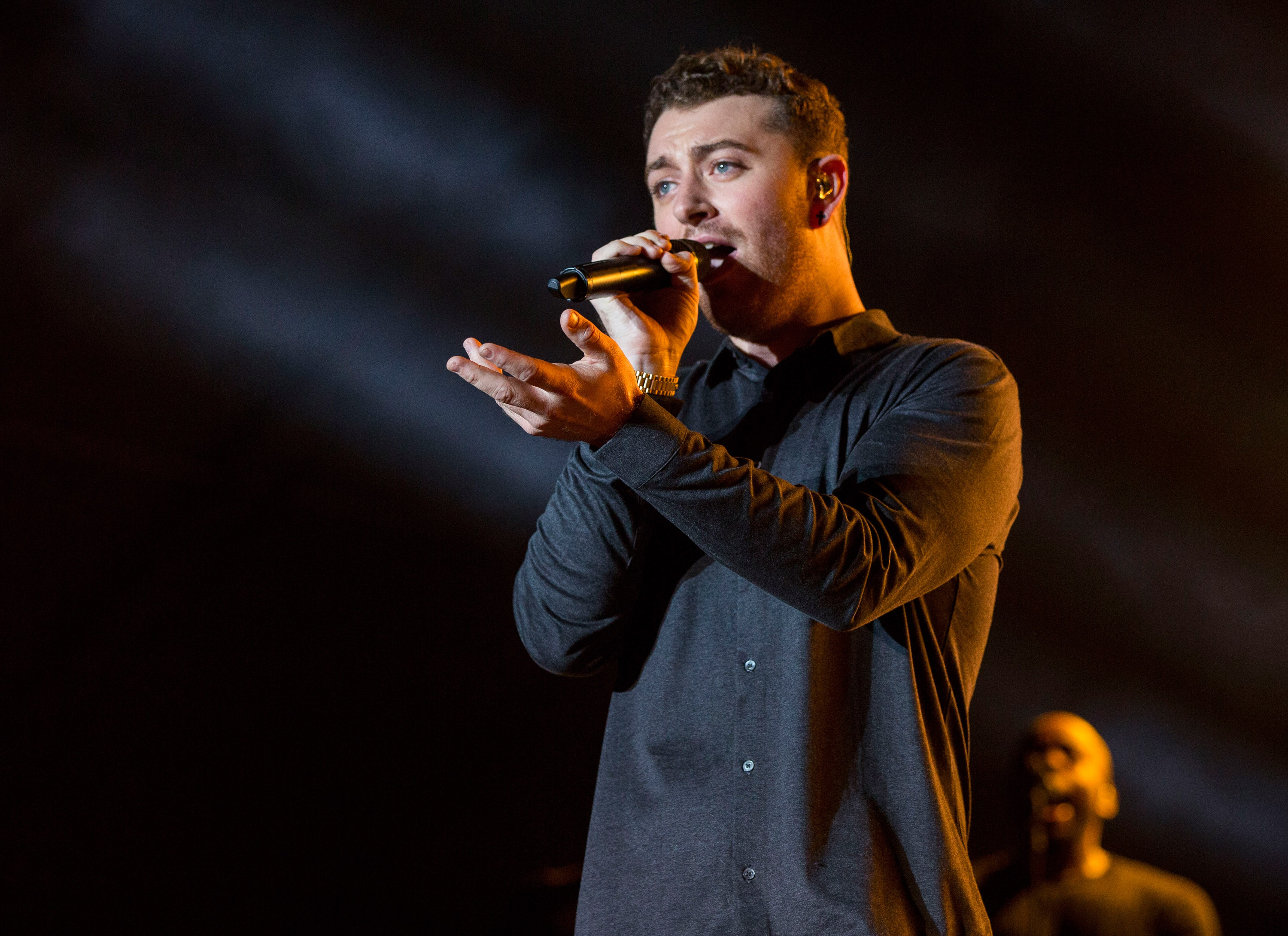 ATLANTA, GA - SEPTEMBER 19:  Sam Smith performs during Day 2 of 2015 Music Midtown at Piedmont Park on September 19, 2015 in