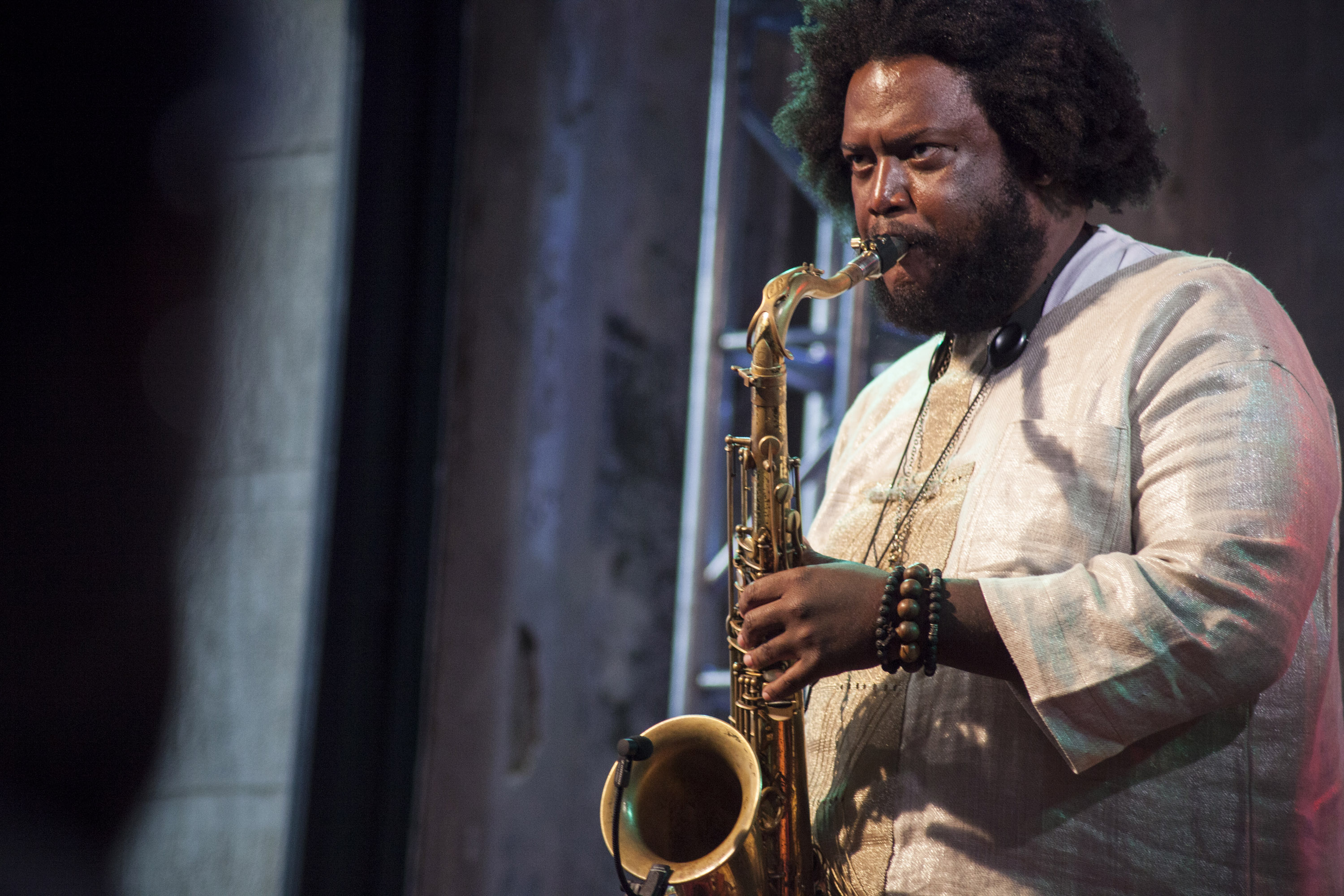 NEW YORK, NY - AUGUST 25:  Kamasi Washington performs at AOL Build Presents: 'The Epic' at AOL Studios In New York on August