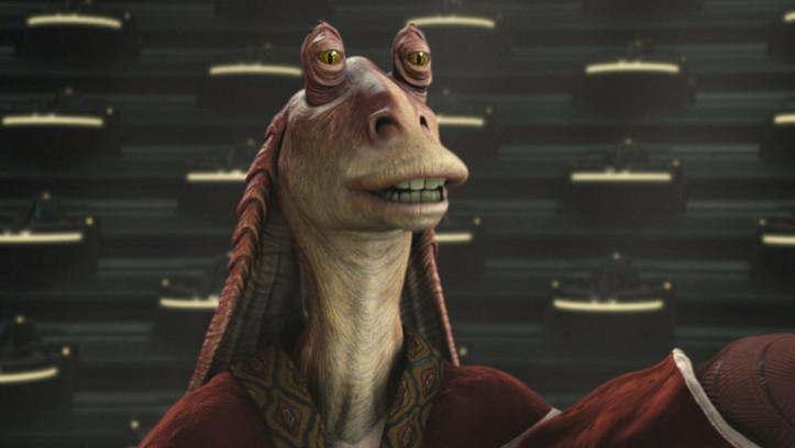 """Jar Jar Binks wird von vielen """"Star Wars""""-Fans nicht gemocht. Er ist ein Gunganer, der außerhalb Naboos lebt und später Senator der Galaktischen Republik wurde."""