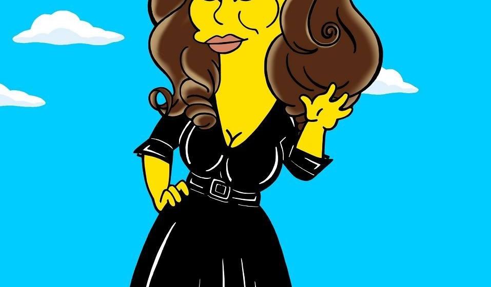 Adele als Simpsons-Charakter im kleinen Schwarzen