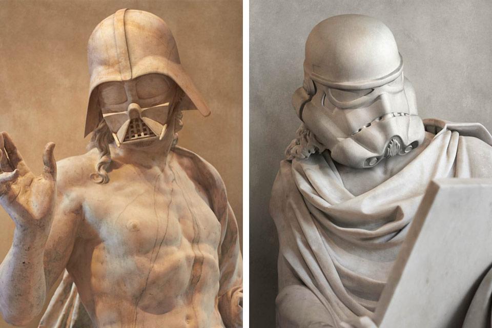Darth Vader und ein Stormtrooper als griechische Statue